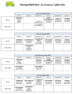 Planning PARENTIBUS. Mai.Juin