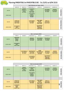 trame Planning PARENTIBUS et PARENTIBUS BIS